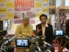 Addressing the press with actor Irrfan Khan in Mumbai, February 2, 2013