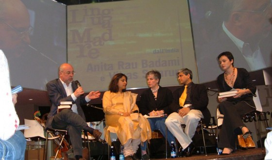 At the Turin Book Fair, in a panel discussion with novelist Anita Rau Badami, May 6, 2005