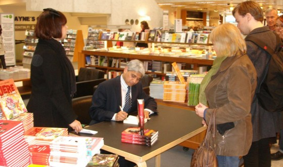 Signing books in Akateeminen bookstore, Helsinki on May 10, 2010