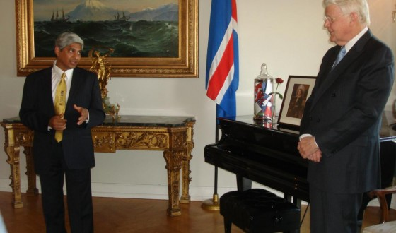 Speaking at the Presidental Residence in Reykjavik on September 10, 2011. Looking on is the President of Iceland, H.E. _lafur Ragnar Grmsson
