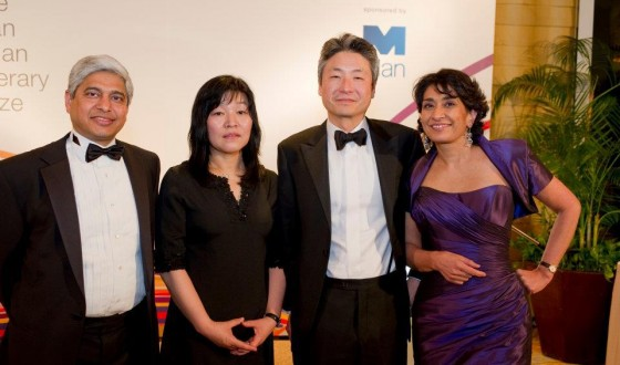With Man Asian Prize winner for 2011 Kyung-sook Shin  and my fellow judges Razia Iqbal (Chair) and Chang-rae Lee (2)
